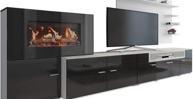 Mueble con chimenea eléctrica television colgada
